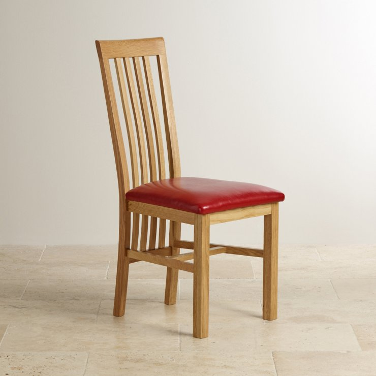 Slat Back Natural Solid Oak and Red Leather Dining Chair