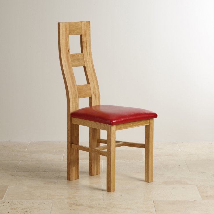 Wave Back Natural Solid Oak and Red Leather Dining Chair