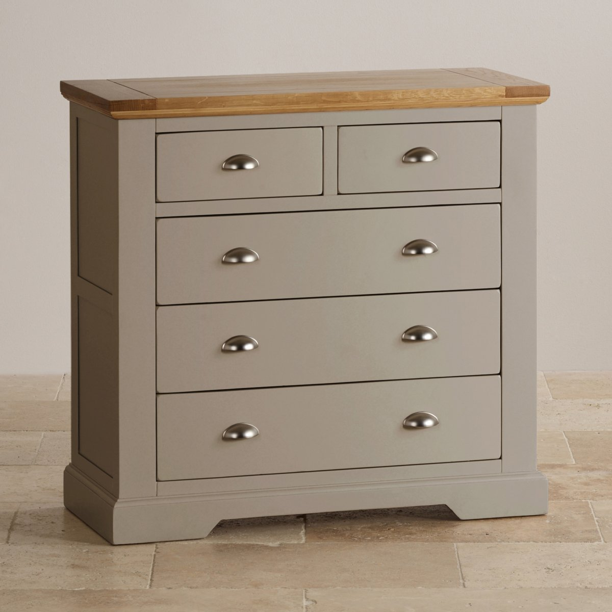Natural Oak And Light Grey Painted 2 3 Chest Of Drawers