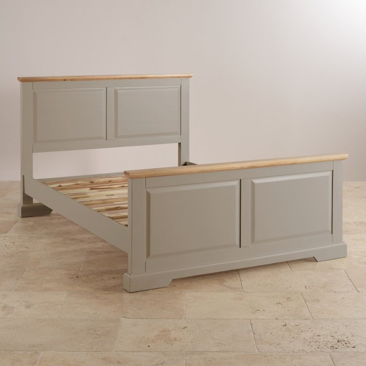 "St Ives Natural Oak and Light Grey Painted 4ft 6"" Double Bed"