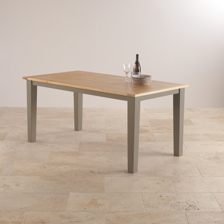 "St Ives Natural Oak and Light Grey Painted 5ft 6"" Dining Table with 6 Fabric Chairs"