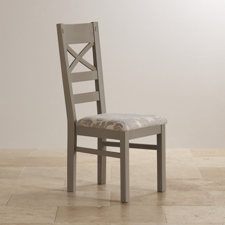 St Ives Natural Oak and Light Grey Painted and Patterned Grey Fabric Dining Chair