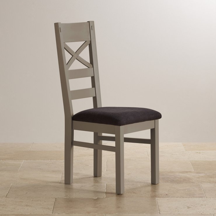 St Ives Natural Oak and Light Grey Painted and Plain Black Fabric Dining Chair