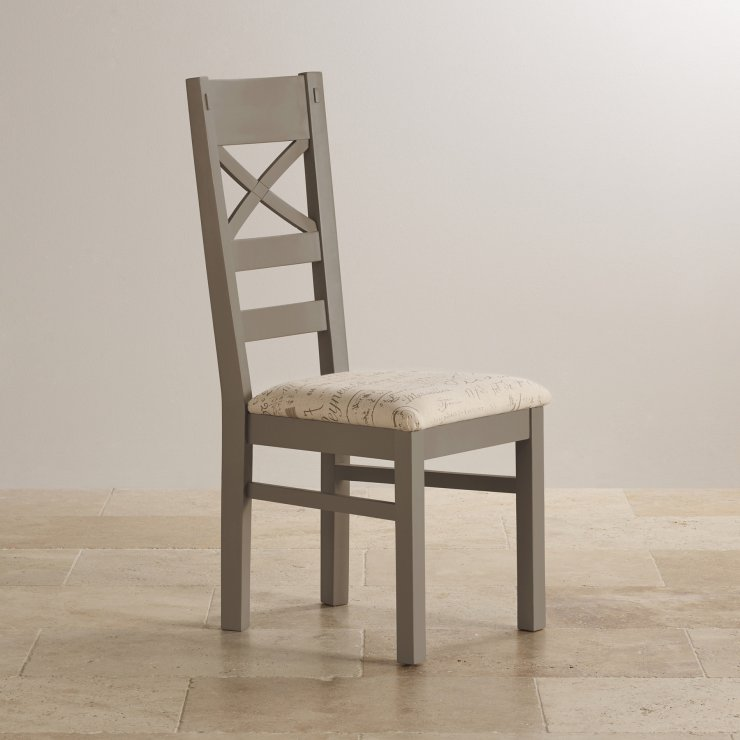 St Ives Natural Oak and Light Grey Painted and Scripted Beige Fabric Chair