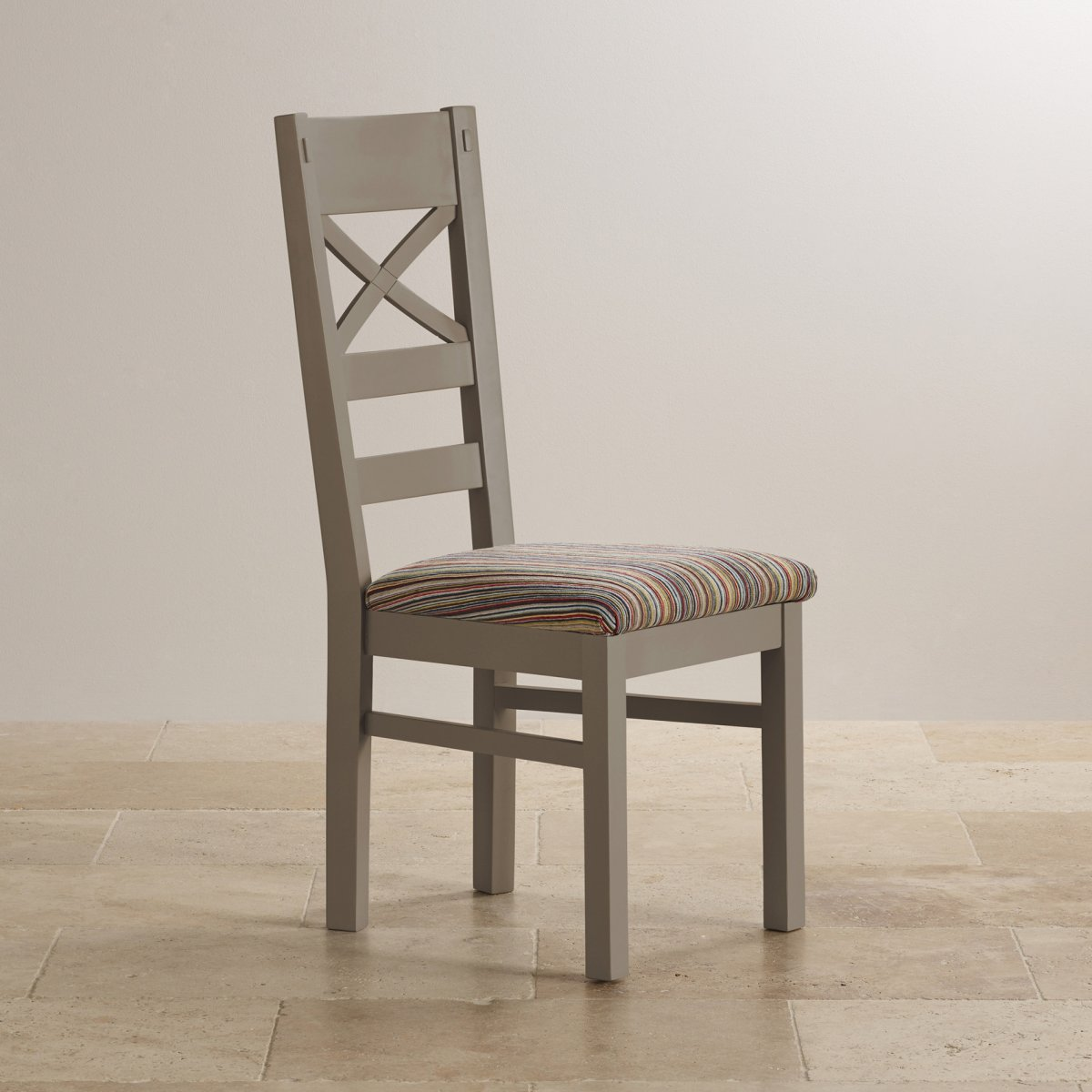 St ives dining chair in grey painted acacia striped fabric for Multi coloured fabric dining chairs
