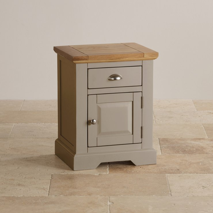 natural oak and light grey painted bedside table with