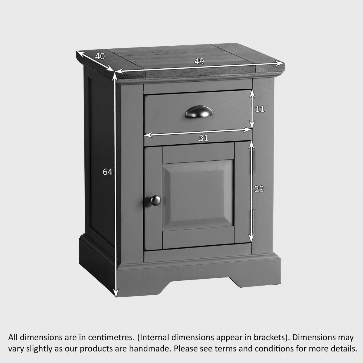 st ives grey bedside table with brushed oak top. Black Bedroom Furniture Sets. Home Design Ideas