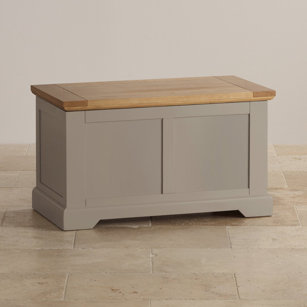 Natural oak and light grey painted blanket box for Furniture box