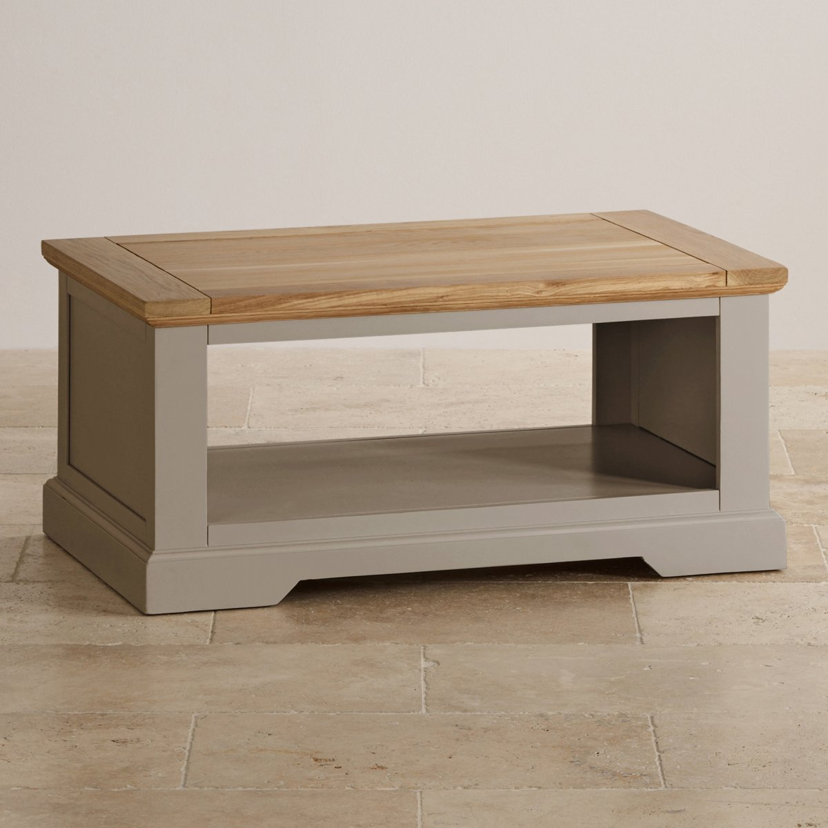 St ives grey coffee table with brushed oak top for Furniture uk