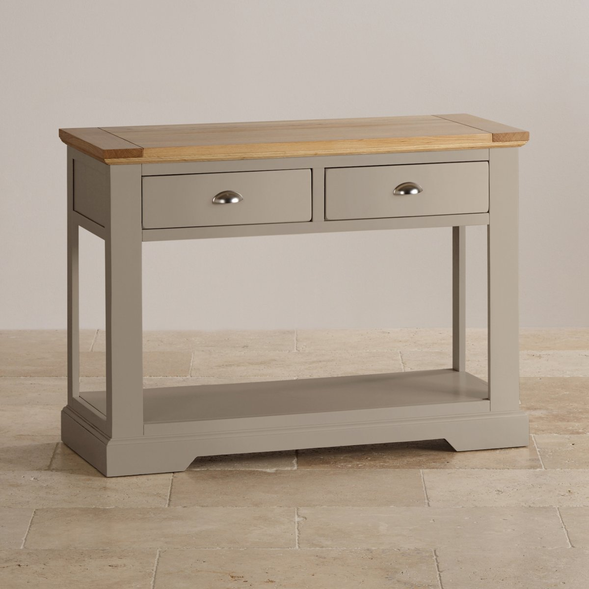 St ives grey console table with brushed oak top for Sofa table lighting