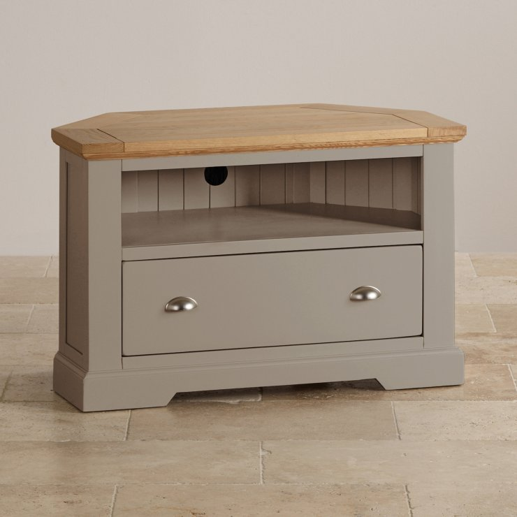 St Ives Natural Oak and Light Grey Painted Corner TV Cabinet