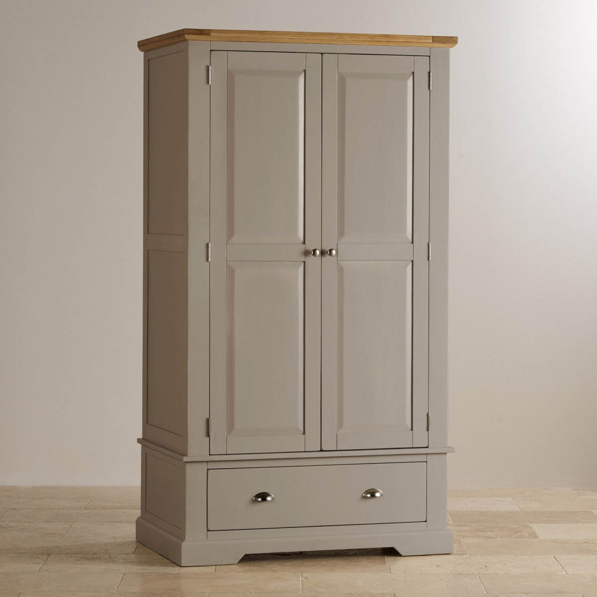 Natural oak and light grey painted double wardrobe.