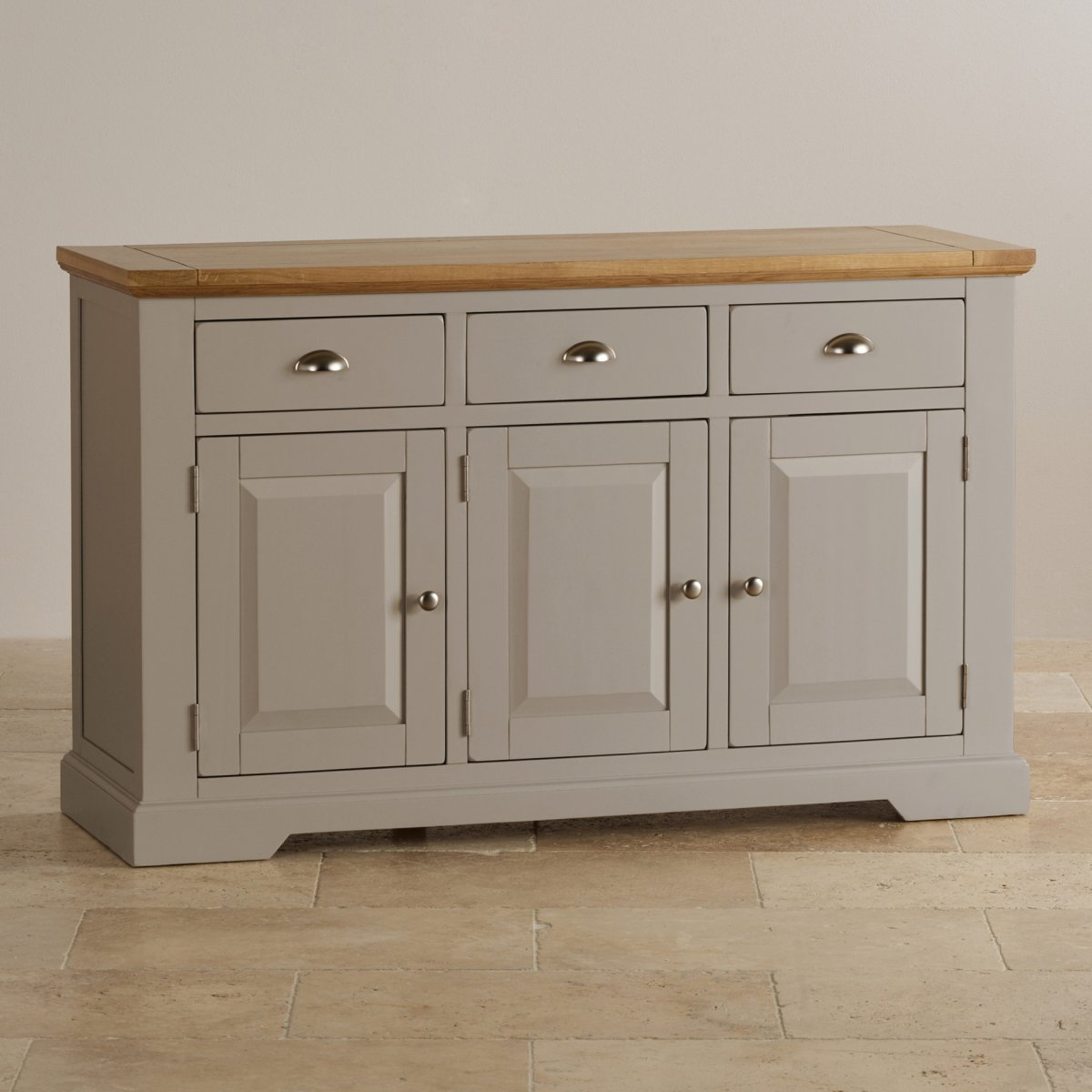 St Ives Natural Oak and Light Grey Painted Large Sideboard - Natural Oak And Light Grey Painted Large Sideboard.
