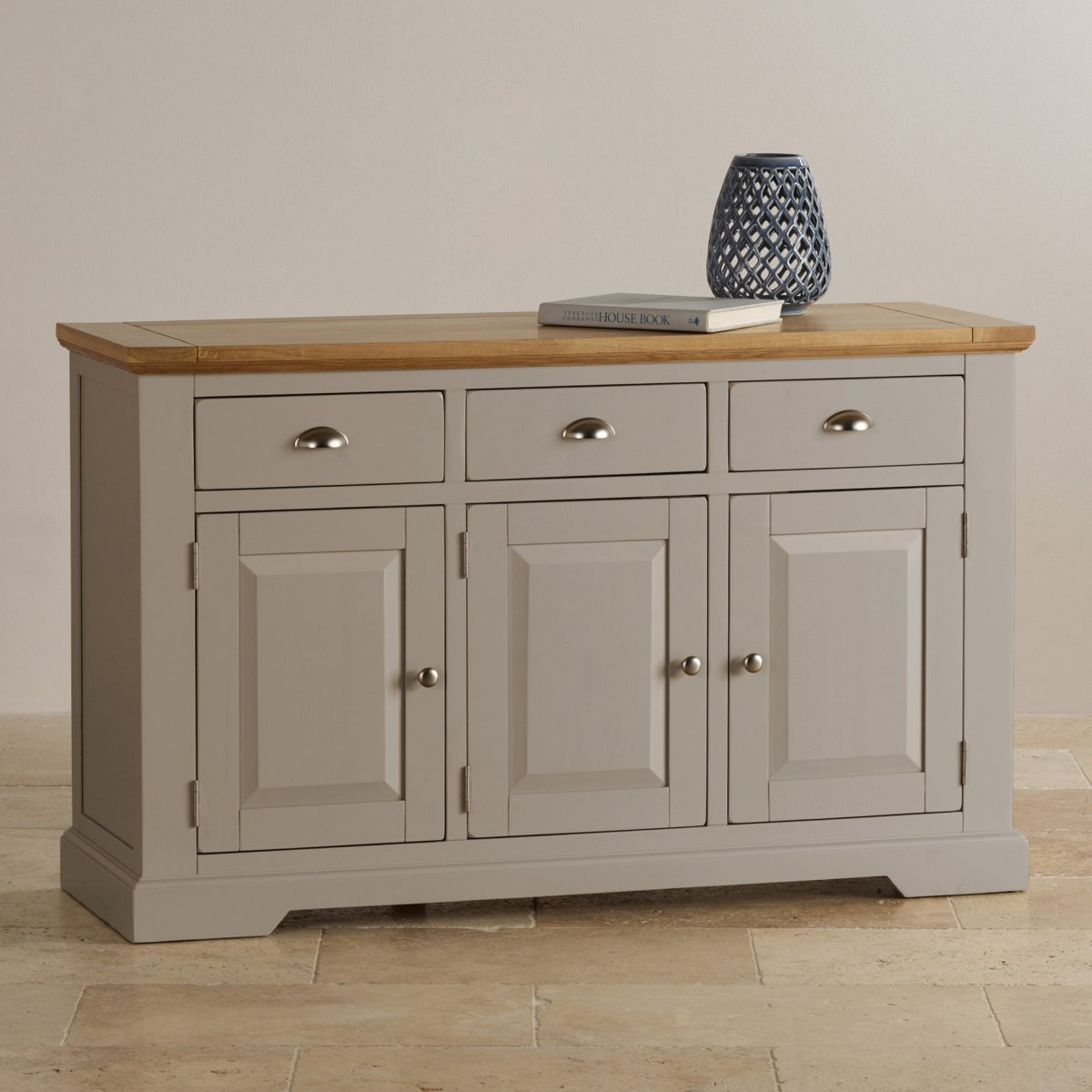 Sorry, your browser does not support this video. - Natural Oak And Light Grey Painted Large Sideboard.