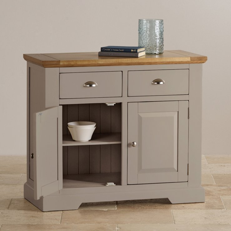 Natural oak and light grey painted small sideboard.