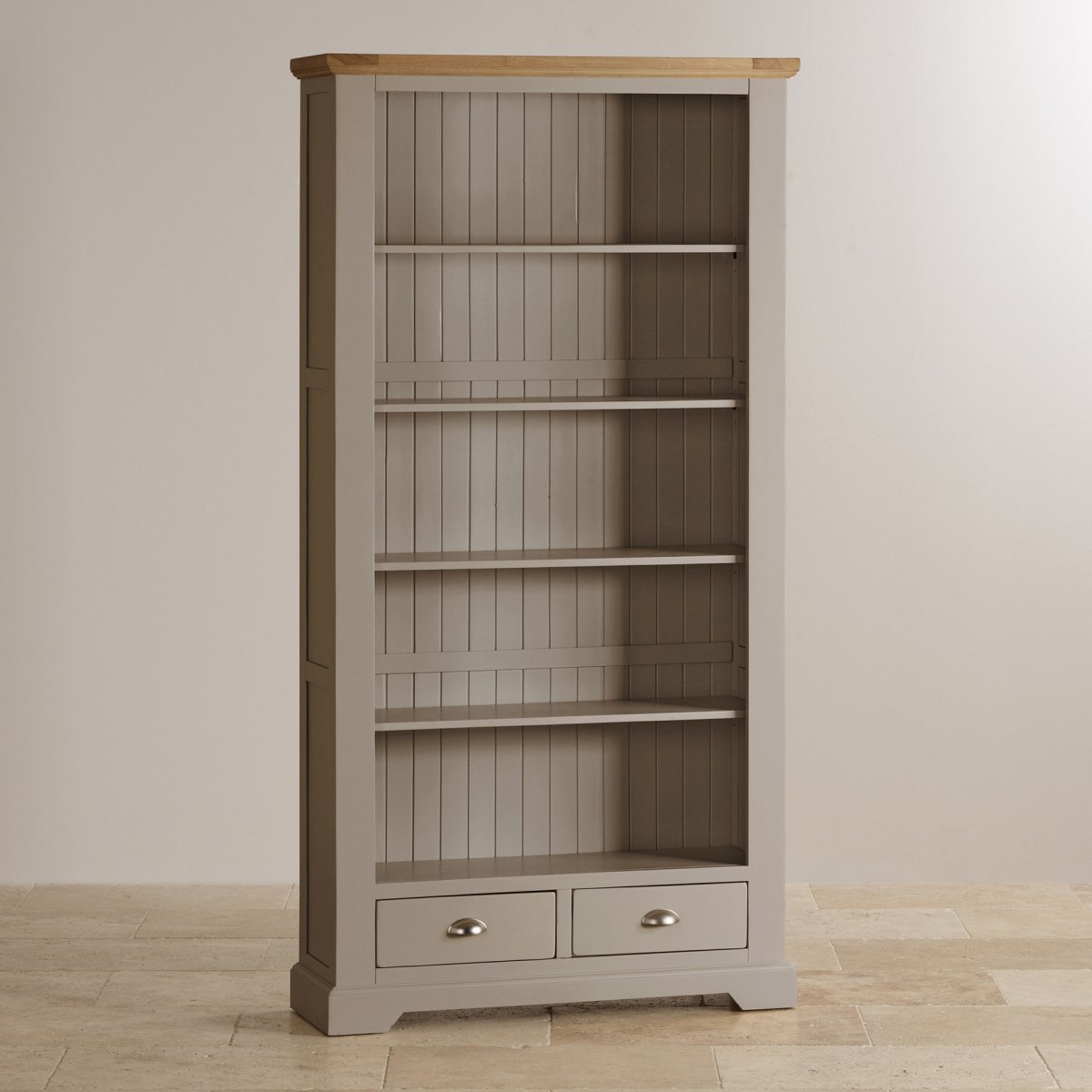 Alton oak corner cabinet oak furniture solutions - Custom Delivery St Ives Natural Oak And Light Grey Painted Tall Bookcase
