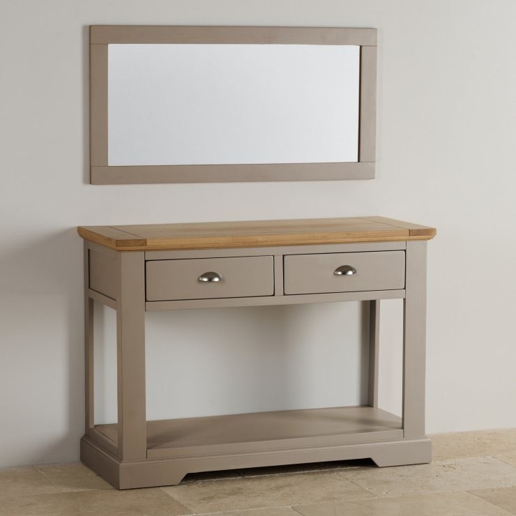 St Ives Natural Oak and Light Grey Painted Wall Mirror