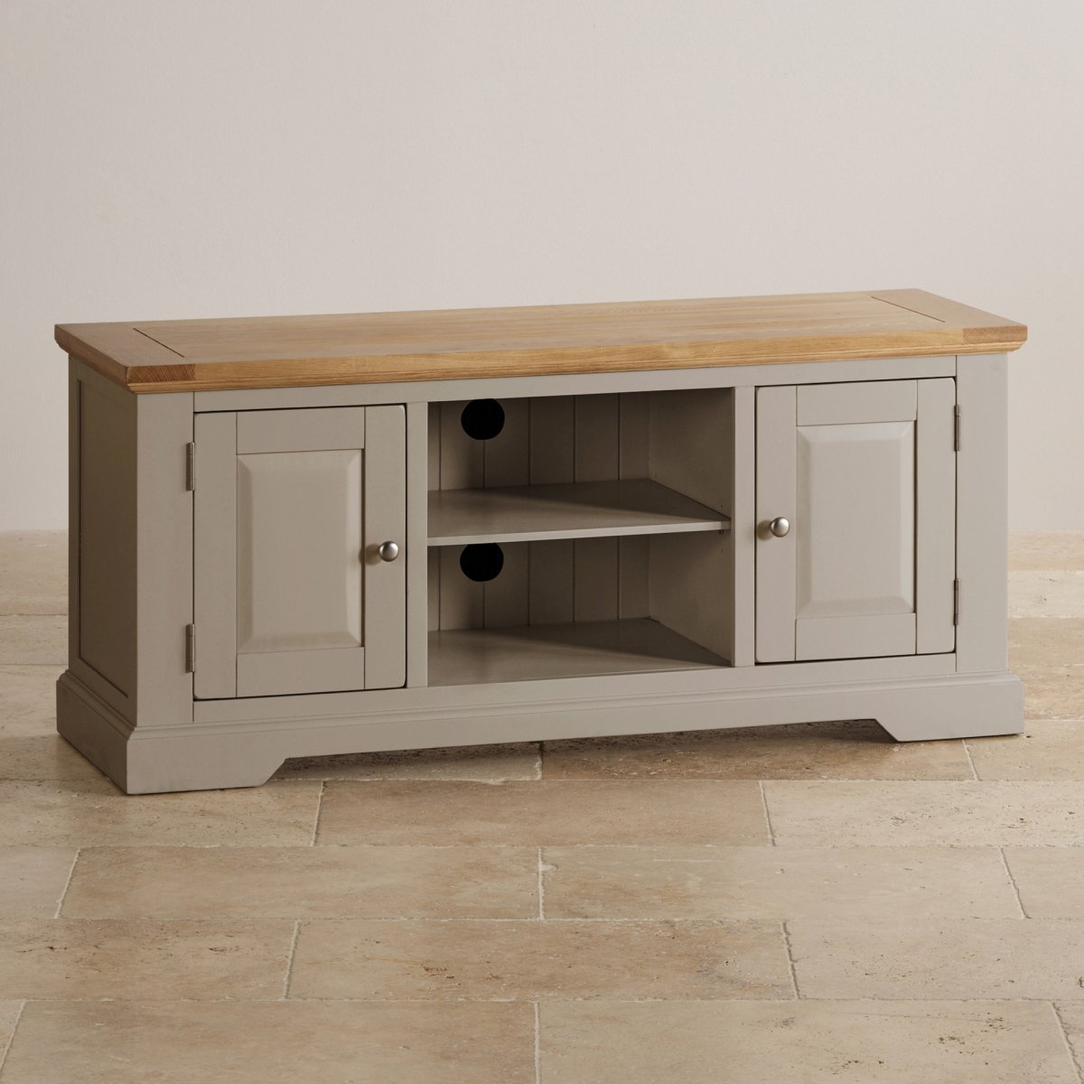 st ives grey tv unit with brushed oak top oak furniture land. Black Bedroom Furniture Sets. Home Design Ideas