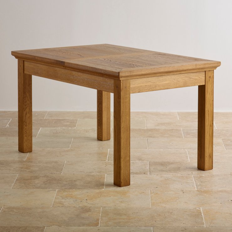"Taunton Rustic Real Brushed Oak 4ft 7"" x 3ft Extending Dining Table"