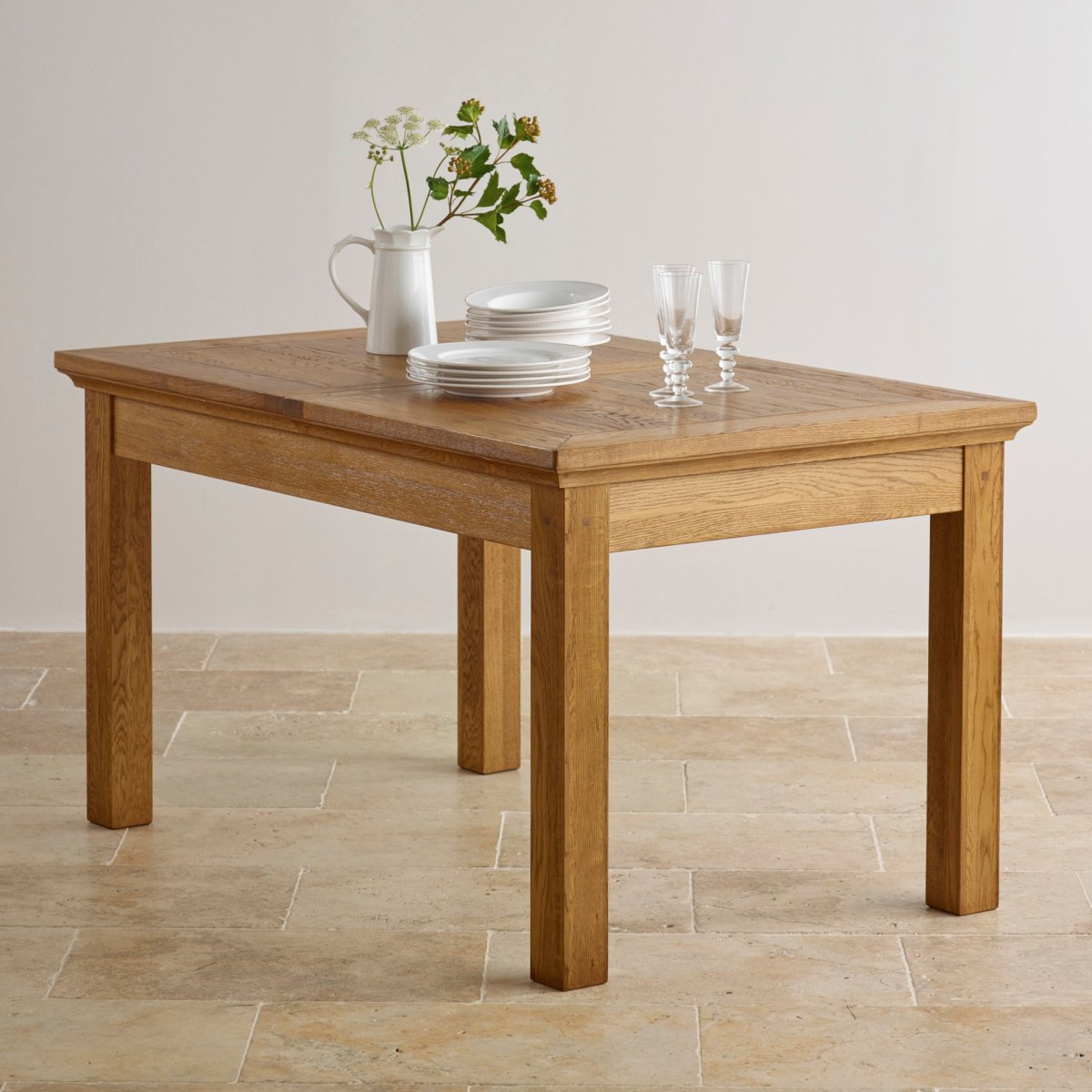 Extendable Dining Set In Rustic Brushed Solid Oak: Extendable Dining Table In Brushed Oak