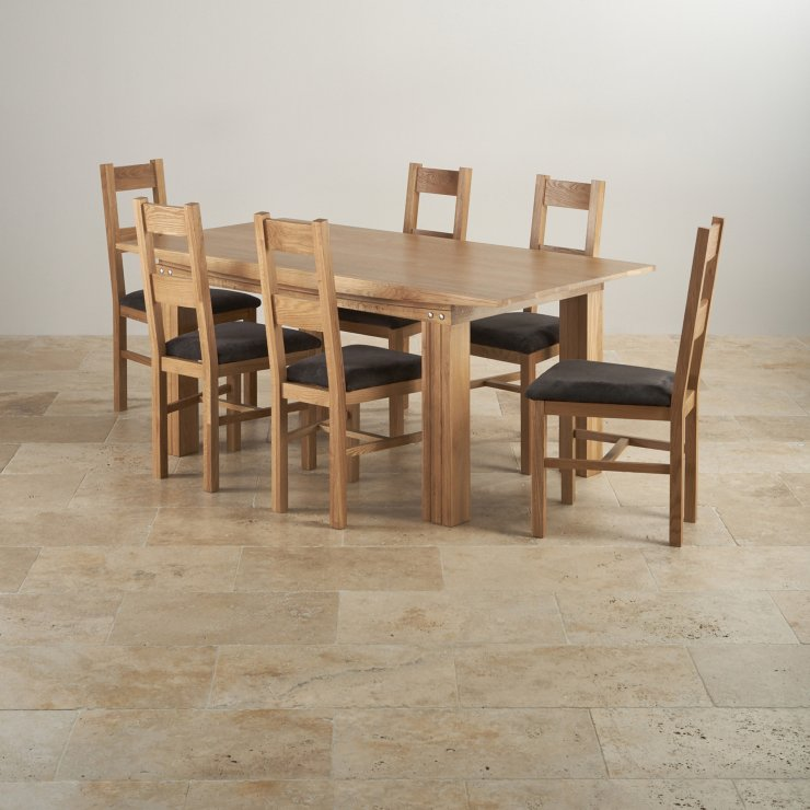 Tokyo Natural Solid Oak Dining Set - 6ft Table with 6 Tokyo and Charcoal Fabric Chairs
