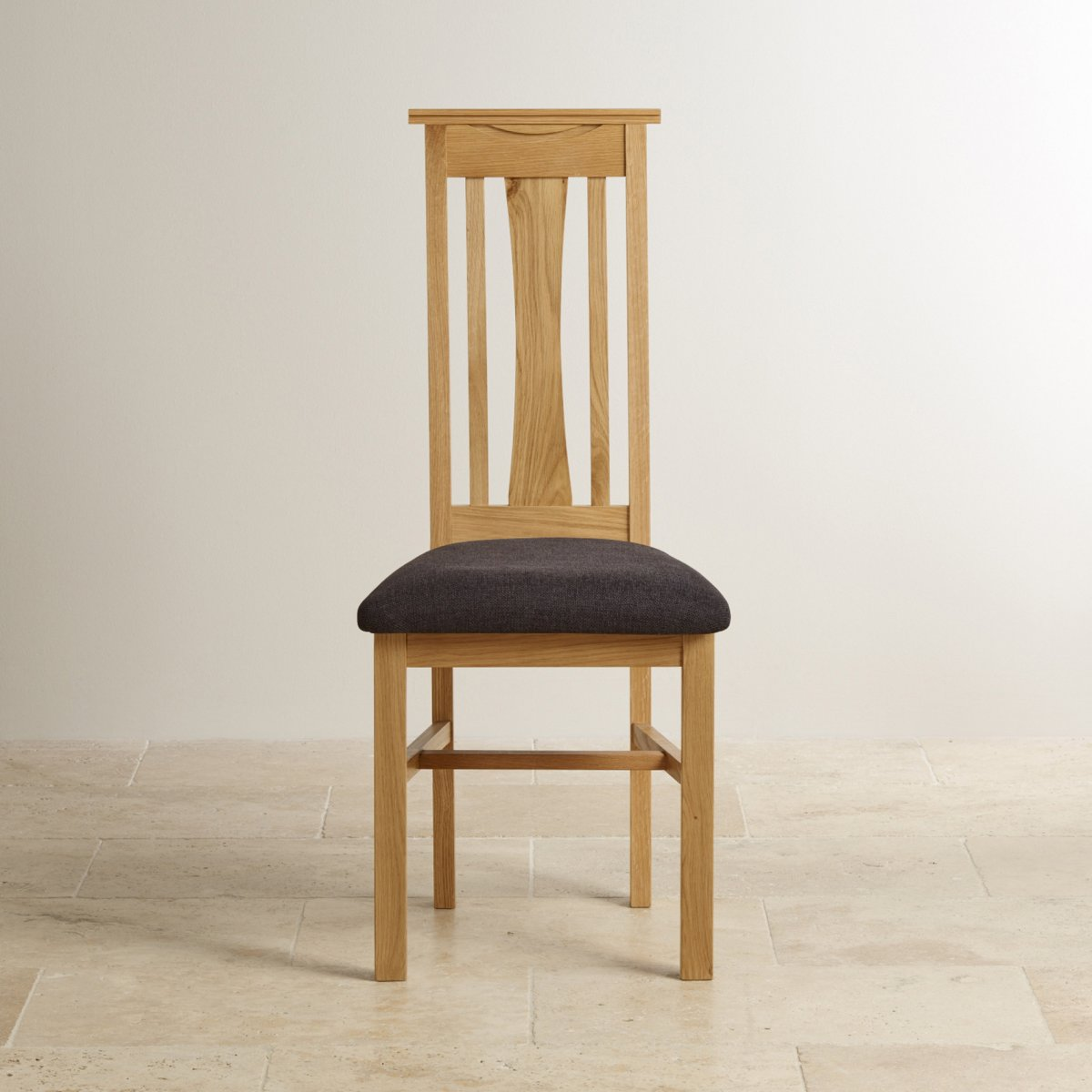 Solid Oak Dining Chairs ~ Tokyo natural solid oak dining chair plain black fabric