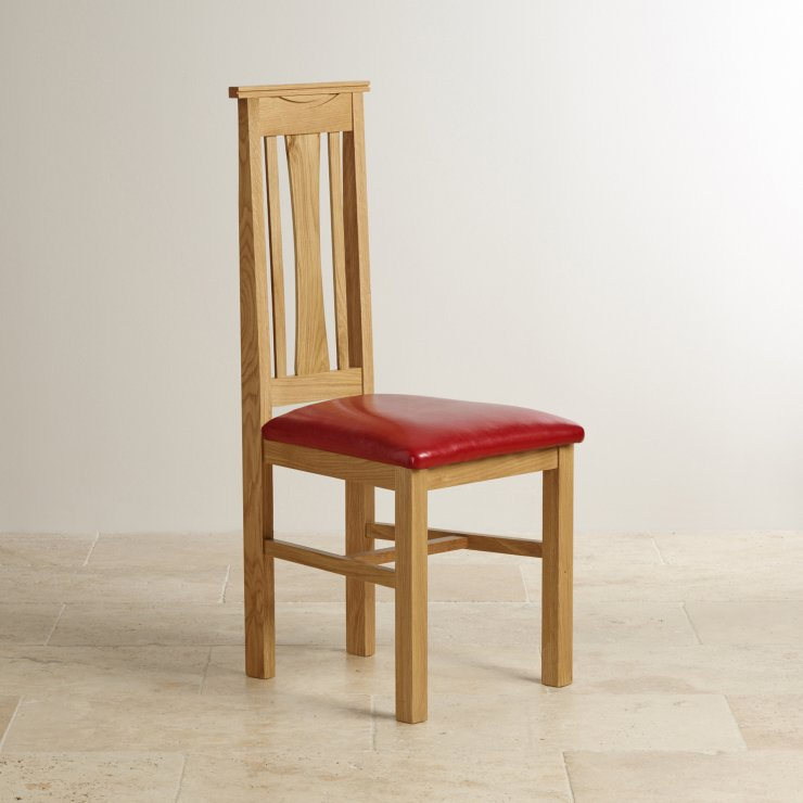 Tokyo Natural Solid Oak and Red Leather Dining Chair
