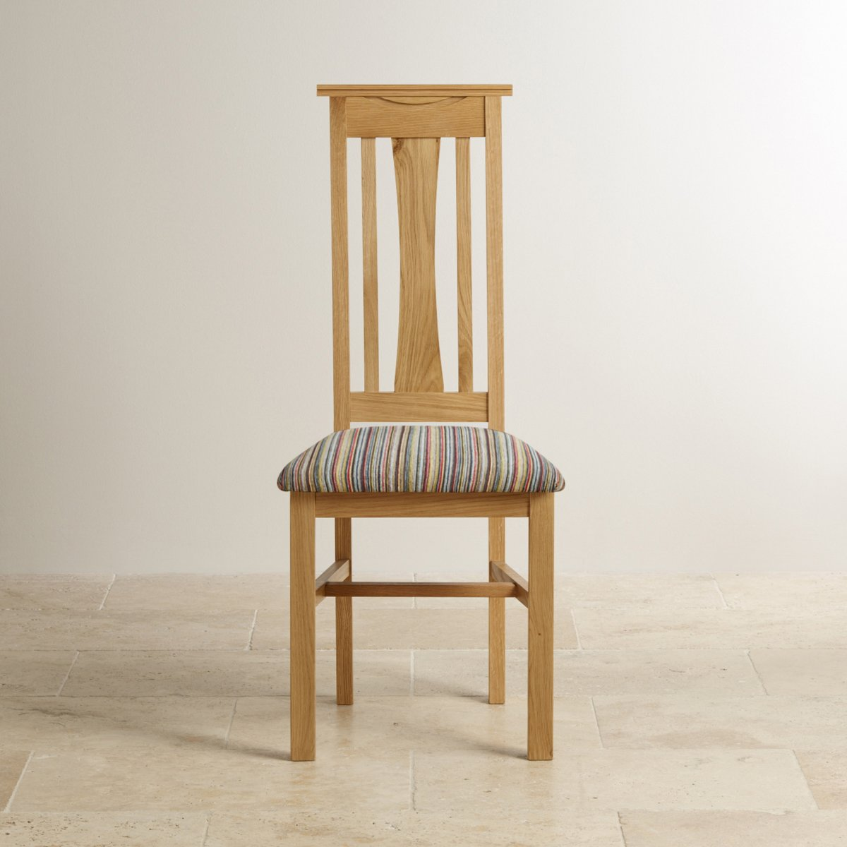 Tokyo dining chair in solidl oak multi striped patterned