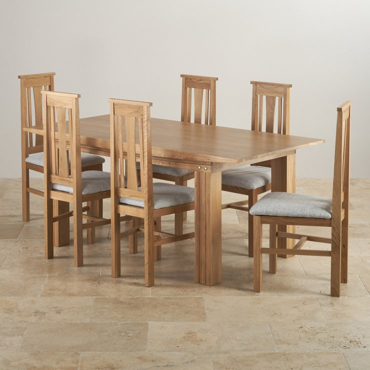 Tokyo Natural Real Oak Dining Set - 6ft Table with 6 Tokyo and Grey Fabric Chairs