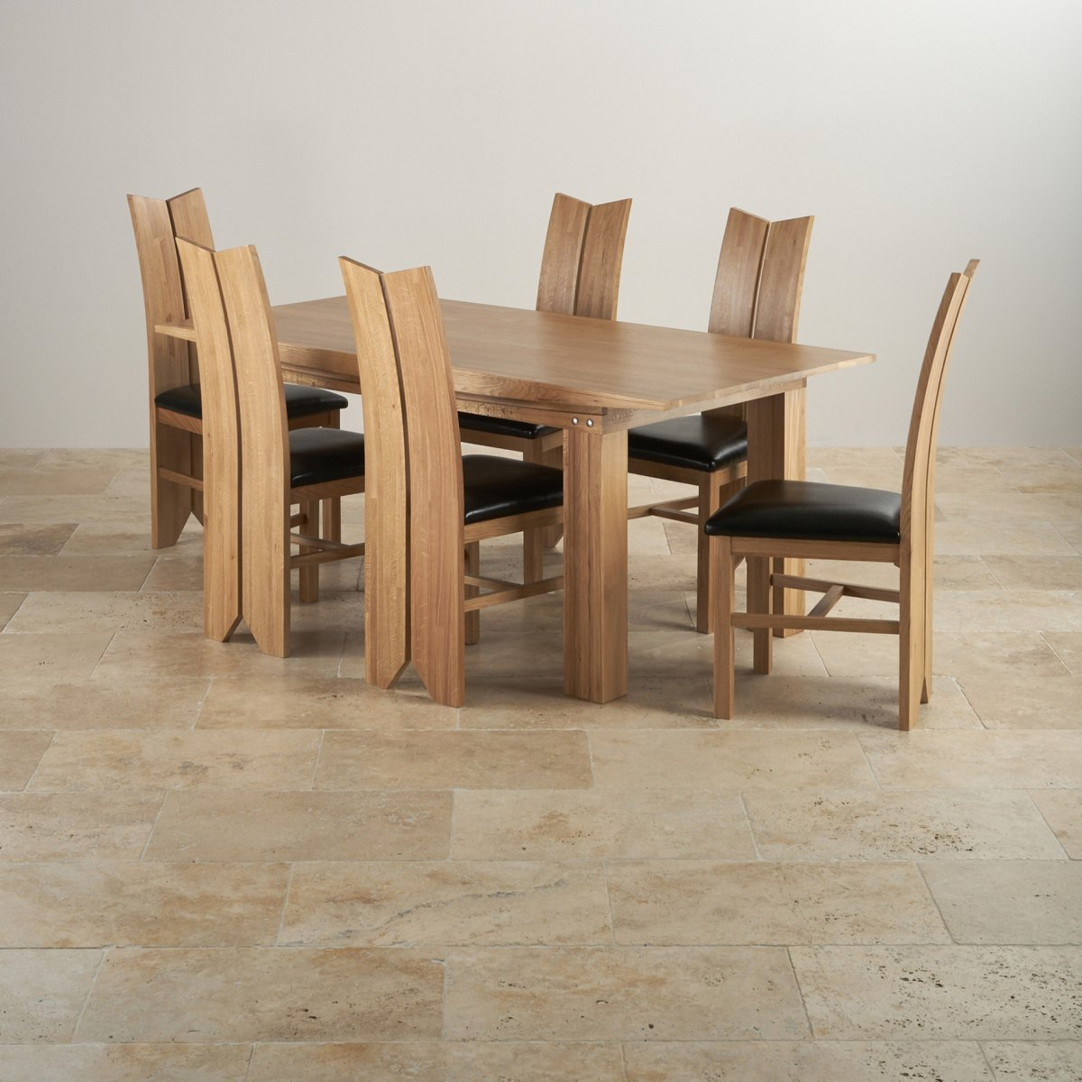 Tokyo Natural Solid Oak Dining Set 6ft Table With 6 Tulip And Black Leather Chairs
