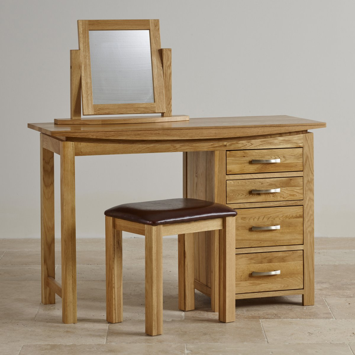Tokyo natural solid oak dressing table set by