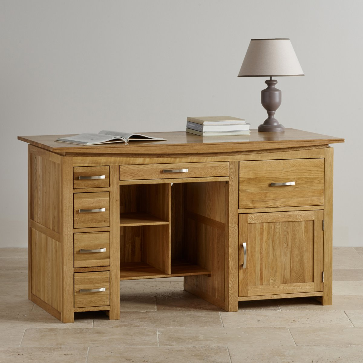 Tokyo Large Computer Desk In Solid Oak Oak Furniture Land
