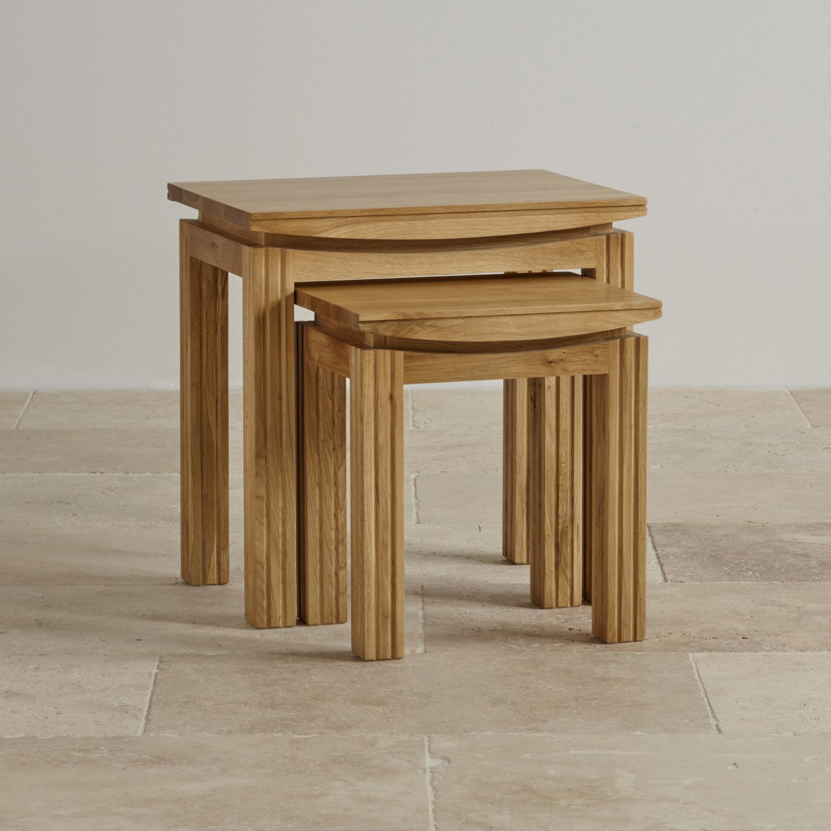 Tokyo nest of tables in natural solid oak