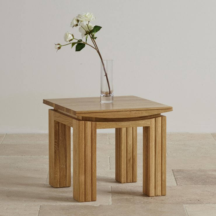 Modern Style Height Oak Side Table Stand With Small Drawers And