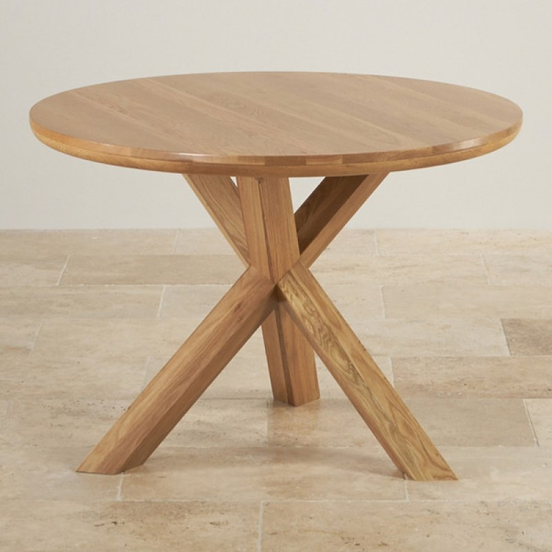 Natural Solid Oak Round Table With Crossed Legs