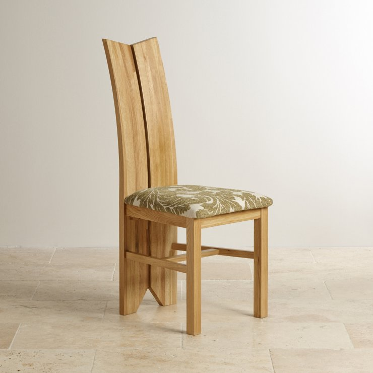 Tulip Natural Solid Oak and Patterned Sage Fabric Dining Chair