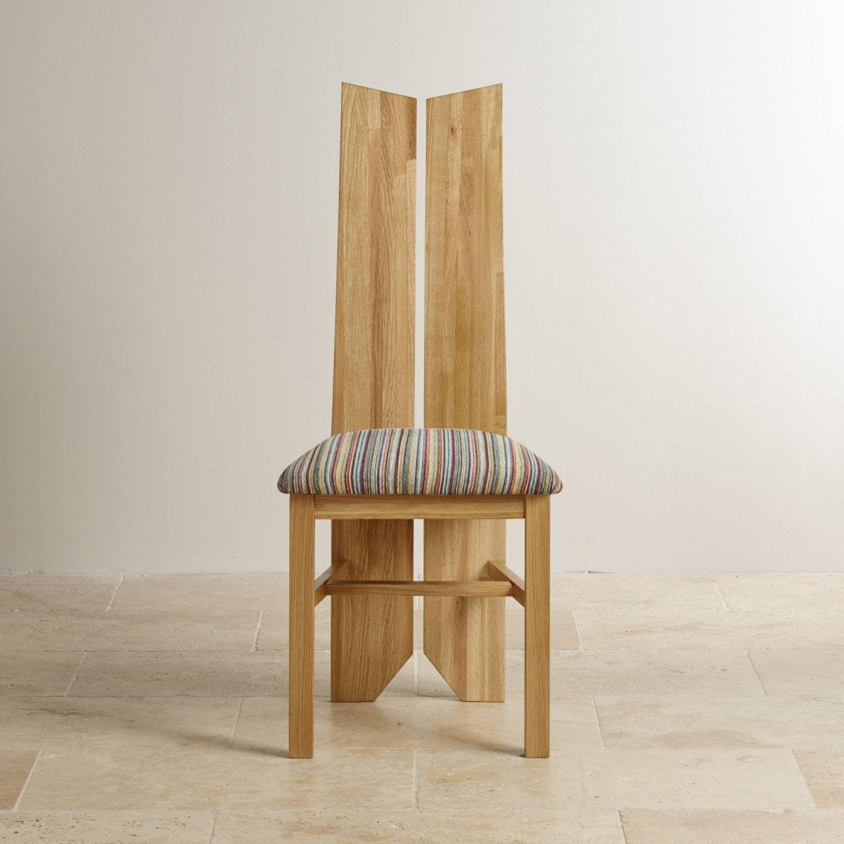 Tulip dining chair in natural oak multi striped fabric for Multi coloured fabric dining chairs