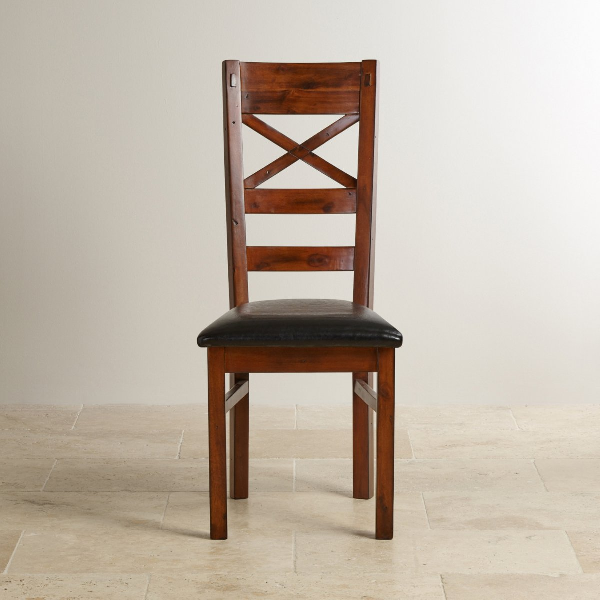 Victoria dining chair in solid hardwood black leather