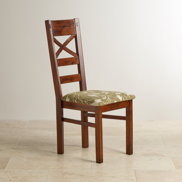 Victoria Solid Hardwood and Patterned Sage Fabric Dining Chair