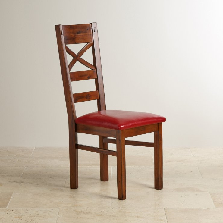 Victoria Solid Hardwood and Red Leather Dining Chair