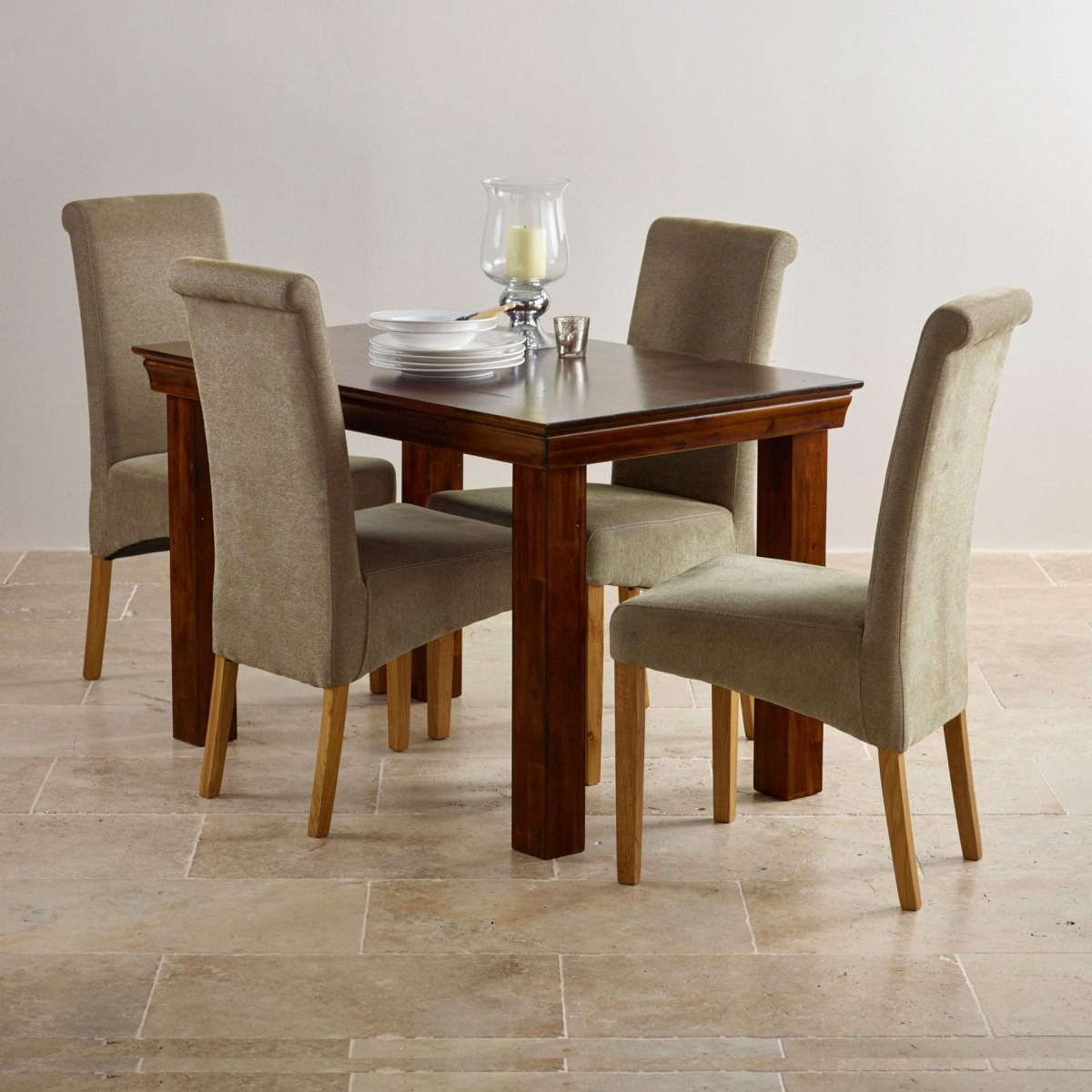 victoria extending dining set in acacia table 4 chairs