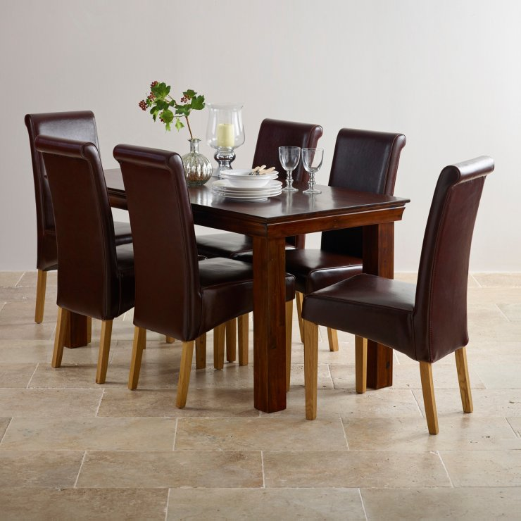 Victoria Solid Hardwood Dining Set - 5ft Table with 6 Scroll Back Brown Leather Chairs