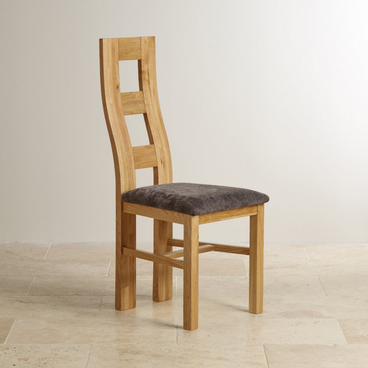 Wave Back Natural Solid Oak and Plain Charcoal Fabric Dining Chair
