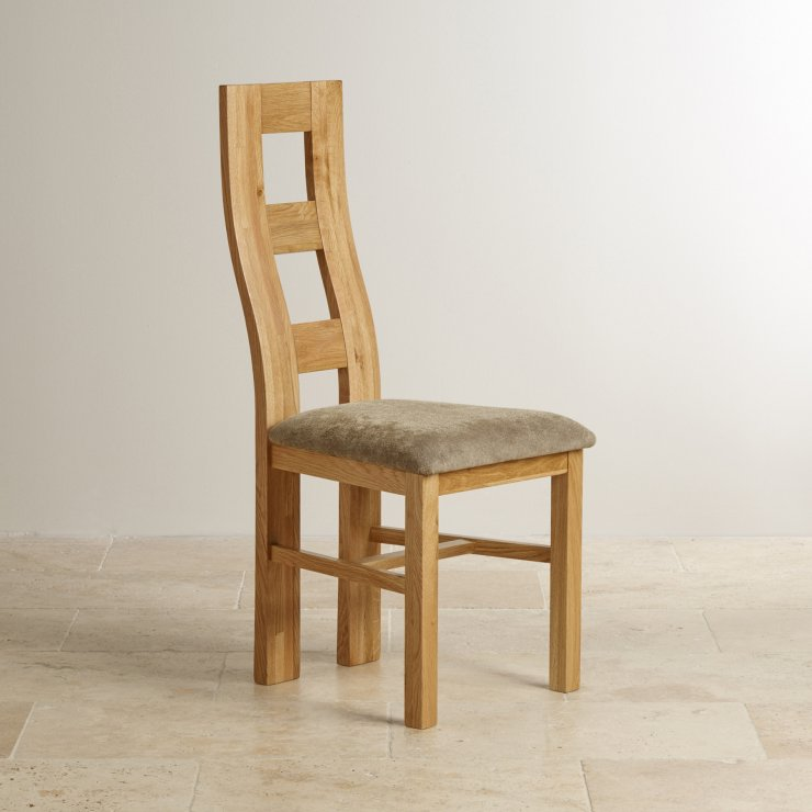 Wave Back Natural Solid Oak and Plain Sage Fabric Dining Chair
