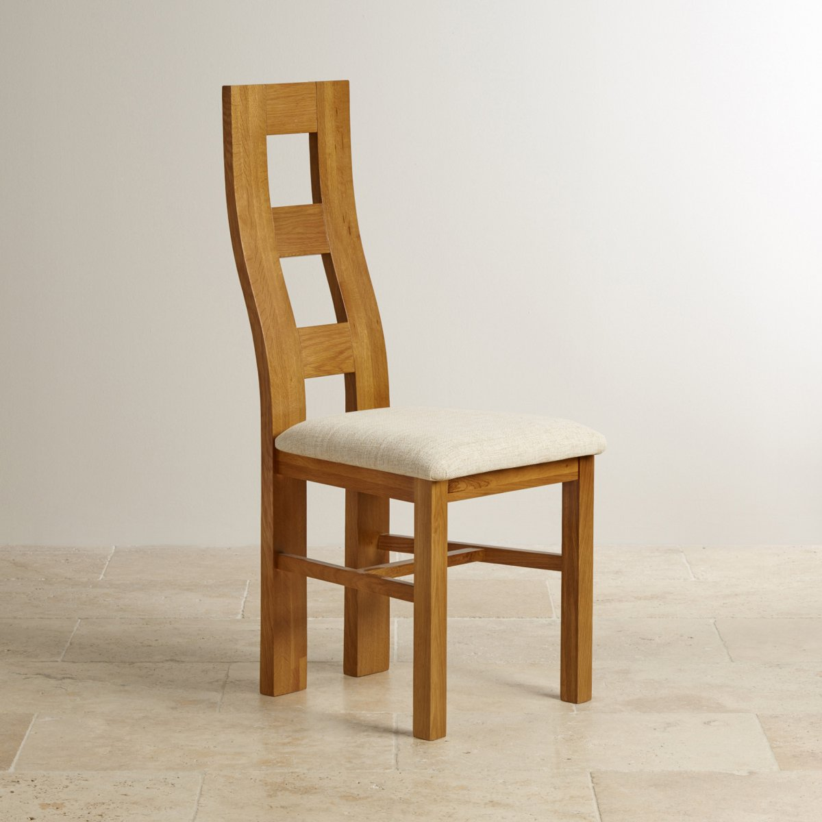 Wave back dining chair in rustic solid oak beige fabric