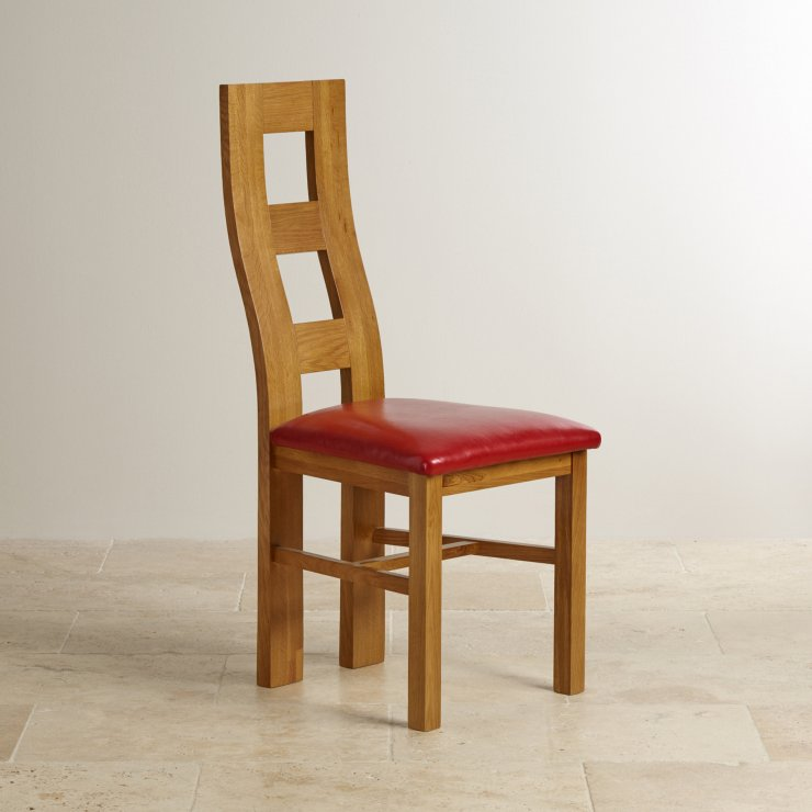 Wave Back Rustic Solid Oak and Red Leather Dining Chair