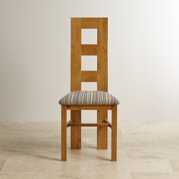 Wave Back Rustic Solid Oak and Striped Multi-coloured Fabric Chair