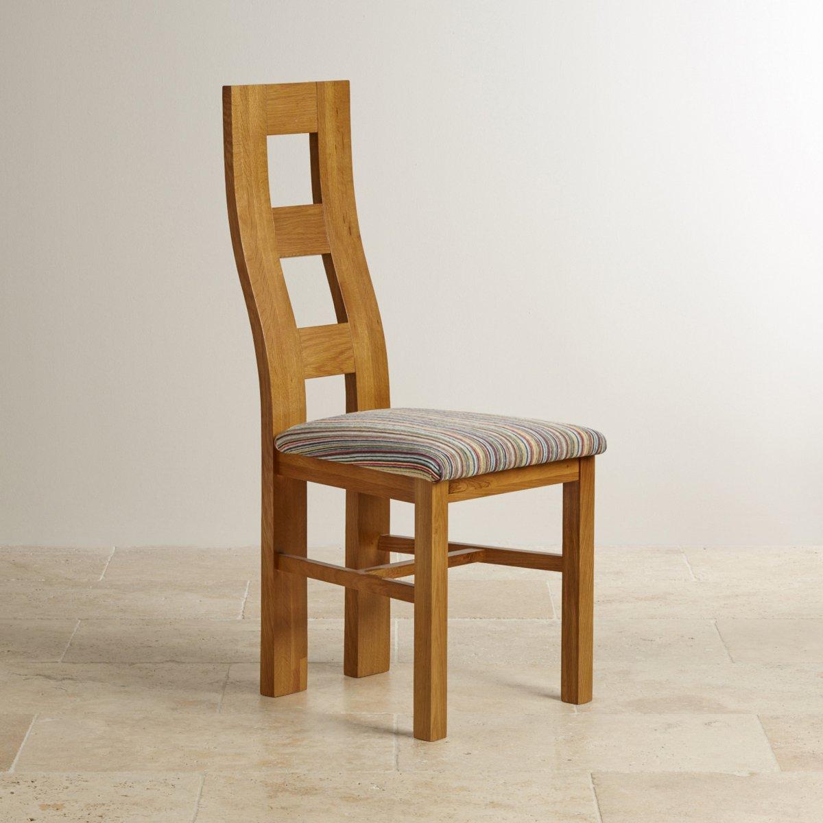 Wave back dining chair in rustic oak multi striped fabric for Multi coloured fabric dining chairs