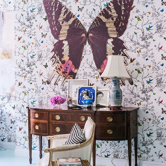 Maghogany-and-White-Butterfly-Hallway-Livingetc-Housetohome