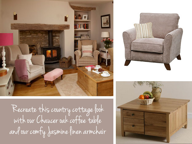 The country cottage style for home inspiration by kimberly for Living room designs with oak furniture